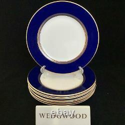 Perfect Set of 8 Wedgwood RENAISSANCE GOLD 8 Cobalt Blue Salad Plates