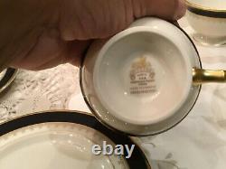 Pickard Fine China 3 pc place setting Washington ivory cobalt blue 24k gold set