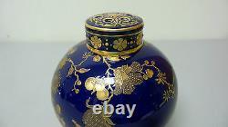 RARE 19th C. ROYAL CROWN DERBY PORCELAIN POTPOURRI JAR, COBALT & GOLD DECORATION
