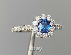 RARE! GIA Cert 1.5 Ct Cobalt Spinel Luc Yen & D VS1 Diamond Ring 14K White Gold
