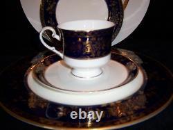 RARE Qty 6 Buckingham Cobalt Blue 5 pc Dinner Place Setting w24Kt Gold (30pc)