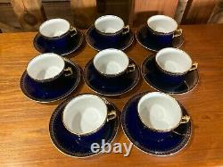 ROMANOV 48pc. China Service for 8 Genuine Cobalt Blue & White with24ct. Gold Trim