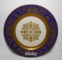ROSENTHAL china ENCRUSTED GOLD FILIGREE COBALT BLUE Set of 12 Service Plates 11
