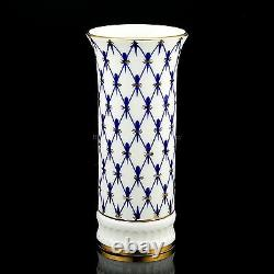 RUSSIAN Imperial Lomonosov Bone Porcelain Vase for Flower Cobalt Net 22k gold