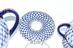 RUSSIAN Imperial Lomonosov Porcelain Coffee Set Cobalt Net 6/14 22k Gold