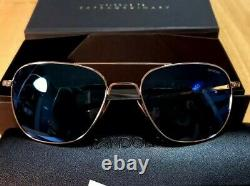 Randolph Engineering White Gold Aviator Polarized Cobalt Lenses Sunglasses 58mm