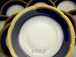 Rare 10 Schleiger Haviland H3376 Gold Encrusted Design On Cobalt Blue Soup Bowls