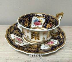Rare Antique RIDGWAY Cup and Saucer Cobalt Blue Gold Floral c1825 Pattern 2/1043