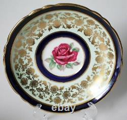 Rare Paragon Tea Cup Floating Rose Cobalt Gold Double Warrant