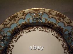 Rare Royal Doulton Burslem Raised Gold Encrusted Cobalt Teal Plate 10 1/4 Inch