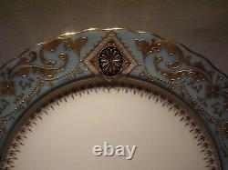 Rare Royal Doulton Burslem Raised Gold Encrusted Cobalt Turquoise Plate 10 Mint
