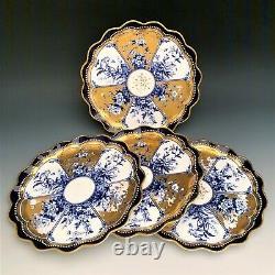Rare Set of 4 Coalport for Theodore B. Starr Cobalt & Gold Cabinet Plates