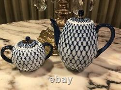 Rare Signed Imperial Russia Cobalt Blue Gold Tea Pot Sugar Bowl set