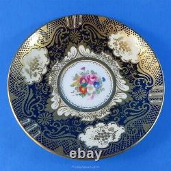 Rich Gold & Cobalt Crown Staffordshire Teacup and Saucer Set