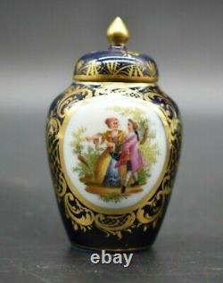 Richard Klemm Dresden German Watteau Cobalt Blue & Gold 3 1/2 Minature Urn