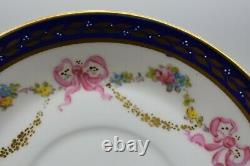 Royal Crown Derby 2 Demitasse Cup Saucer Cobalt Blue Gold Pink Bows Roses 7642
