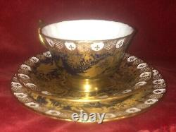 Royal Crown Derby Aves Cobalt Blue & gold Paradise Heraldic 3pcs coffee cup set