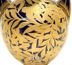 Royal Crown Derby Porcelain Cobalt Blue & Gold Encrusted Twin Handled Urn, c1880