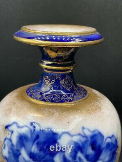 Royal Doulton Burslem Cobalt Blue Gold Flower Footed Vase Antique 8.5