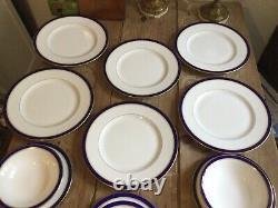 Royal Worcester Cobalt Blue 24ct Gold Rim Dinner & tea Set Stunning Brand New