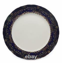 Royalty Porcelain 49-pc Cobalt Blue Banquet Dinner Set for 8, 24K Gold