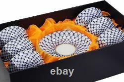 Russian Cobalt Blue Net 18-pc Tea Cup Set St Petersburg 24K Gold Bone China