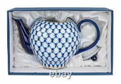 Russian Cobalt Blue Net 60-oz Teapot Kettle Saint Petersburg 24K Gold Bone China