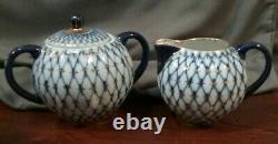 Russian Imperial Lomonosov Cobalt Blue Gold Net Creamer and Sugar Bowl Pre 1991