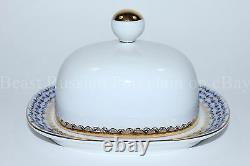 Russian Imperial Lomonosov Porcelain Butter Dish Cobalt Net 22k Gold Rare Russia
