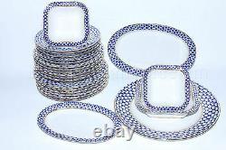 Russian Imperial Lomonosov Porcelain Table Service Cobalt Net Russia Set Gold