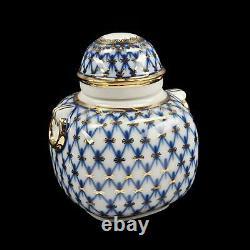 Russian Imperial (Lomonosov) Porcelain Tea Caddy Cobalt Net 22K Gold, NEW