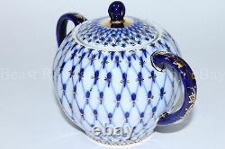 Russian Imperial Lomonosov Porcelain Tea Set Cobalt Net 6/14 22k Gold Original