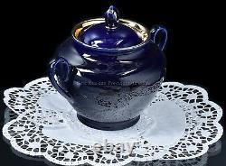 Russian Imperial Lomonosov Porcelain Tea Set Night 6/14 22k Gold Cobalt Service