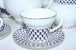 Russian Imperial Lomonosov Porcelain Tea set Cobalt Net 6/14 persons 22K Gold