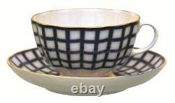 Russian Imperial Lomonosov Porcelain Tea set service Cobalt Cage 6/20 22k Gold