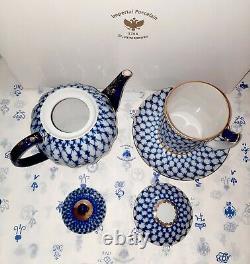 Russian Imperial Lomonosov Porcelain Teapot and Mug Cobalt Net, 22k Gold, NEW