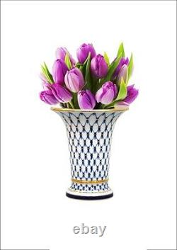 Russian Imperial Lomonosov Porcelain Vase Empire Cobalt Net 22k Gold Russia Rare