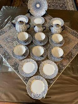 Russian Lomonosov Porcelain Tea Set Cobalt Net 6/22 22k gold Original
