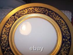 SET-10 (11 1/4) COBALT BLUE GOLD ENCRUSTED Plates LENOX 1930S ART DECO LIONS