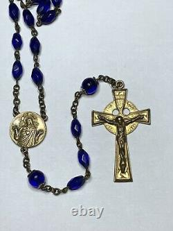Scarce Antique Gold Wash Cobalt Capped Pater Blue Glass Rosary Necklace 33