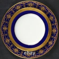 Service of 24 Minton, England Cobalt Blue Gold-Encrusted Plates, gilt, beading