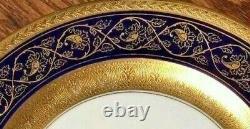Set 12 Antique Limoges C. Ahrenfeltdt CA Cobalt Blue Gold Birds Flowers Plates