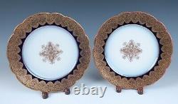 Set 12 Redon Limoges Cobalt Gold Medallion 8.5 Plates Antique Porcelain France
