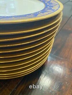 Set Of 12 William Guerin Limoges Cobalt/Raised Gold Encrusted Dinner Plate 11