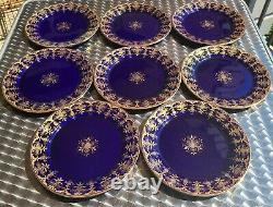 Set Of 8 Antique Sarreguemines Cobalt Blue 8 Plates Gold Gilt Free Shipping