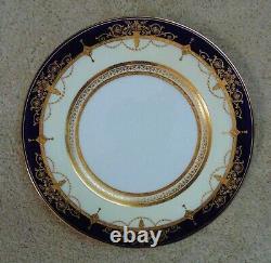 Set of 11 Mintons Dinner Plates Cobalt Blue & Raised Gold Service Cabinet