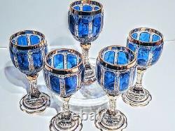 Set of 5 Moser Cobalt Cabochons Blue & Gold Crystal Wine Goblets