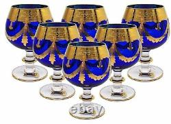 Set of 6 Interglass Italy Crystal Glasses Cobalt Blue Italian Brandy Snifters