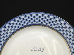 Set of 6 Russian 10.5 Cobalt Blue Net Dinner Plates 24K Gold Dining Porcelain