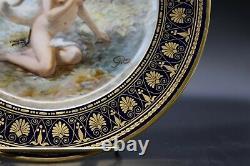 Sevres French Leda & The Swan Cobalt Blue & Gold 9 1/2 Nude Portrait Plate